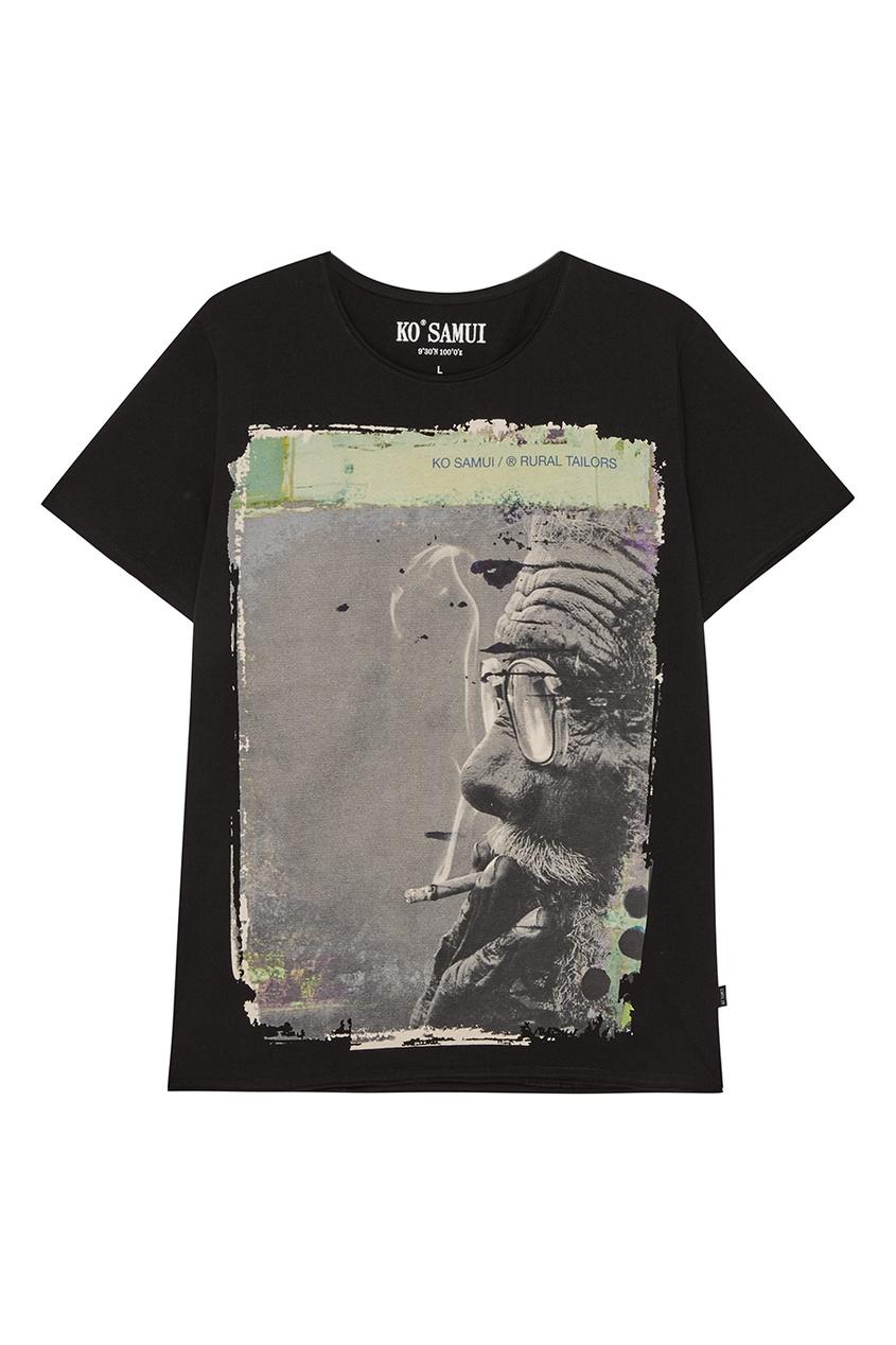 KO SAMUI Черная футболка с фотопринтом Glass ko samui черная футболка с черепом hamlet