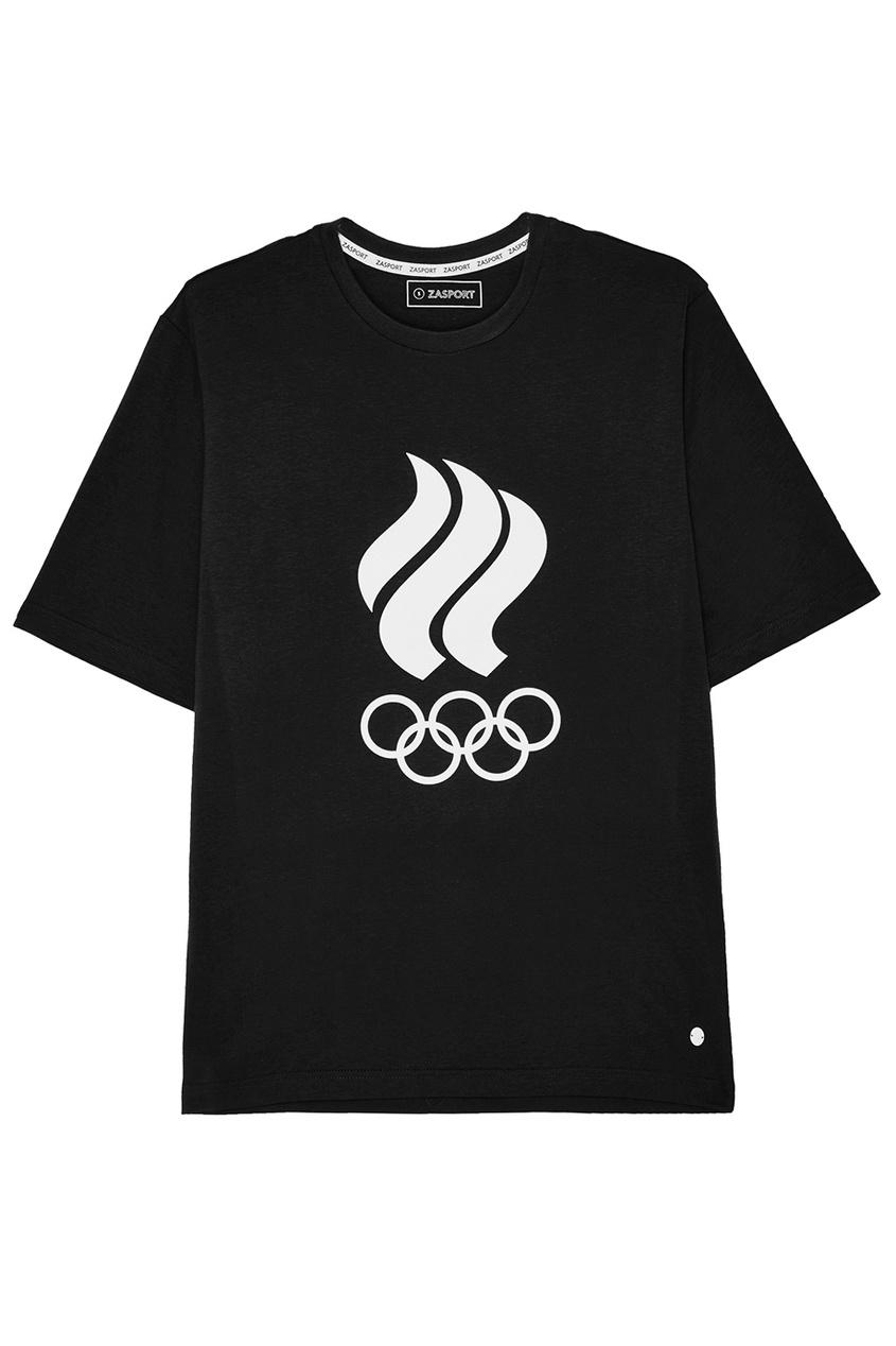 ZASPORT Черная футболка с олимпийской символикой предметы с олимпийской символикой