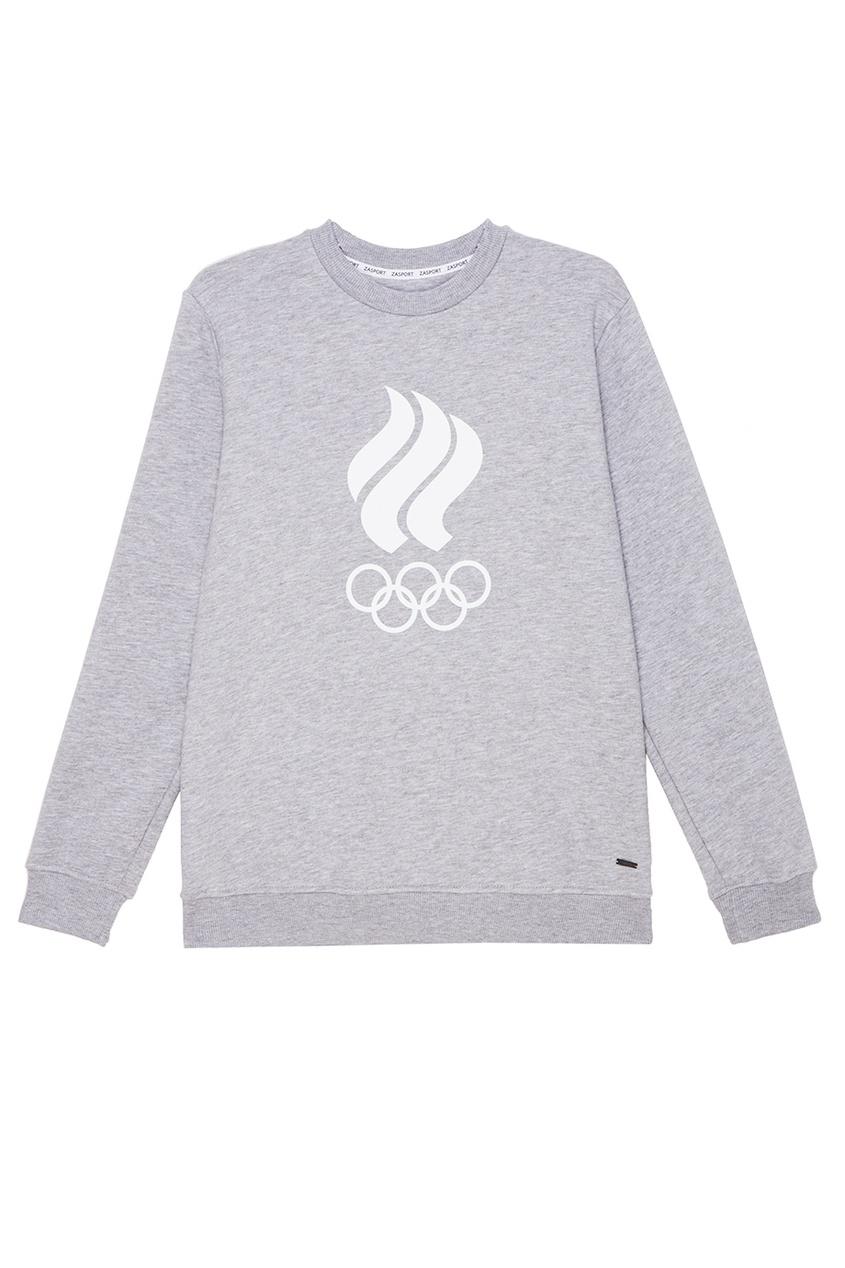 Серый свитшот с олимпийской символикой