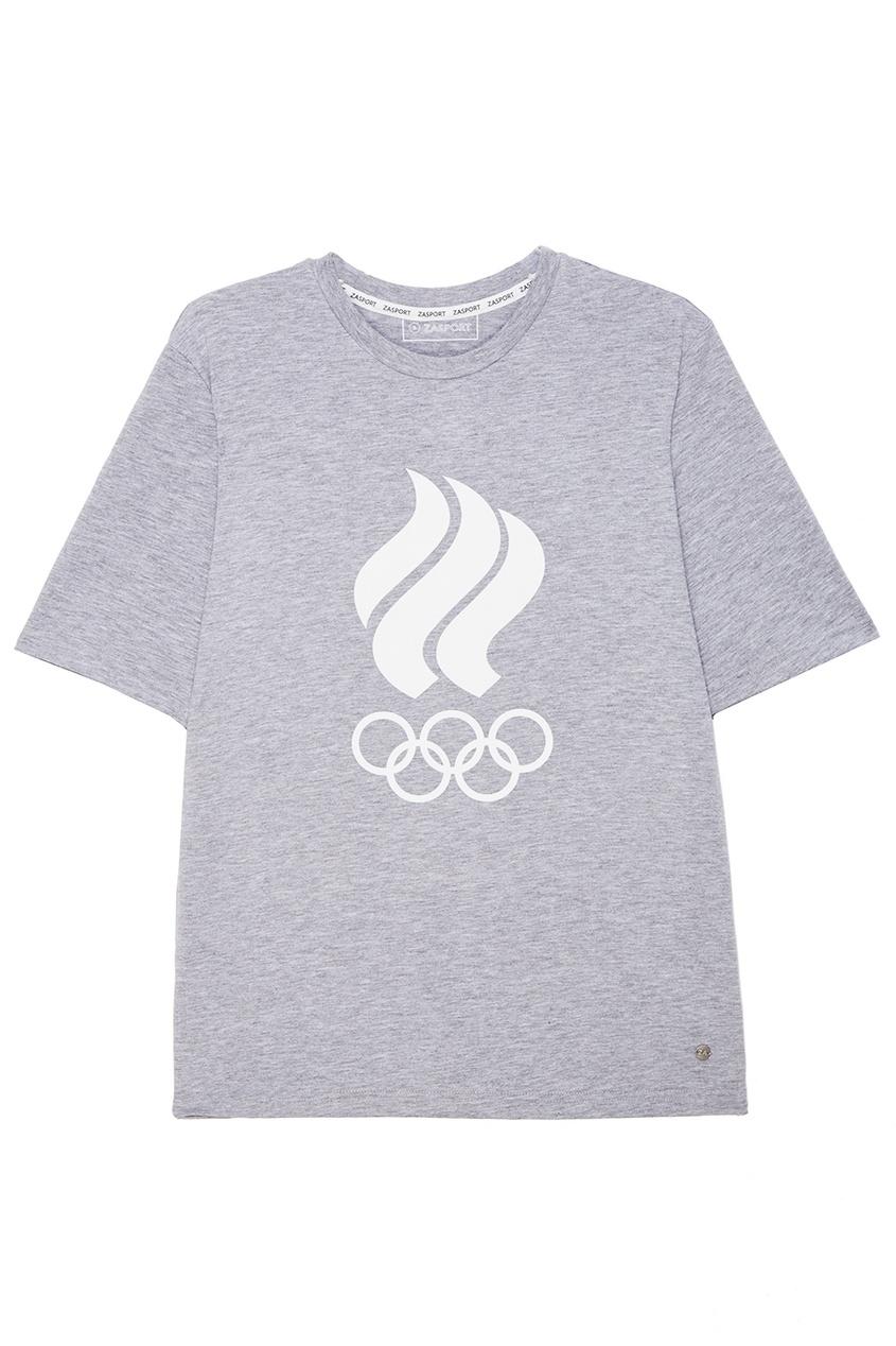 ZASPORT Серая футболка с олимпийской символикой предметы с олимпийской символикой
