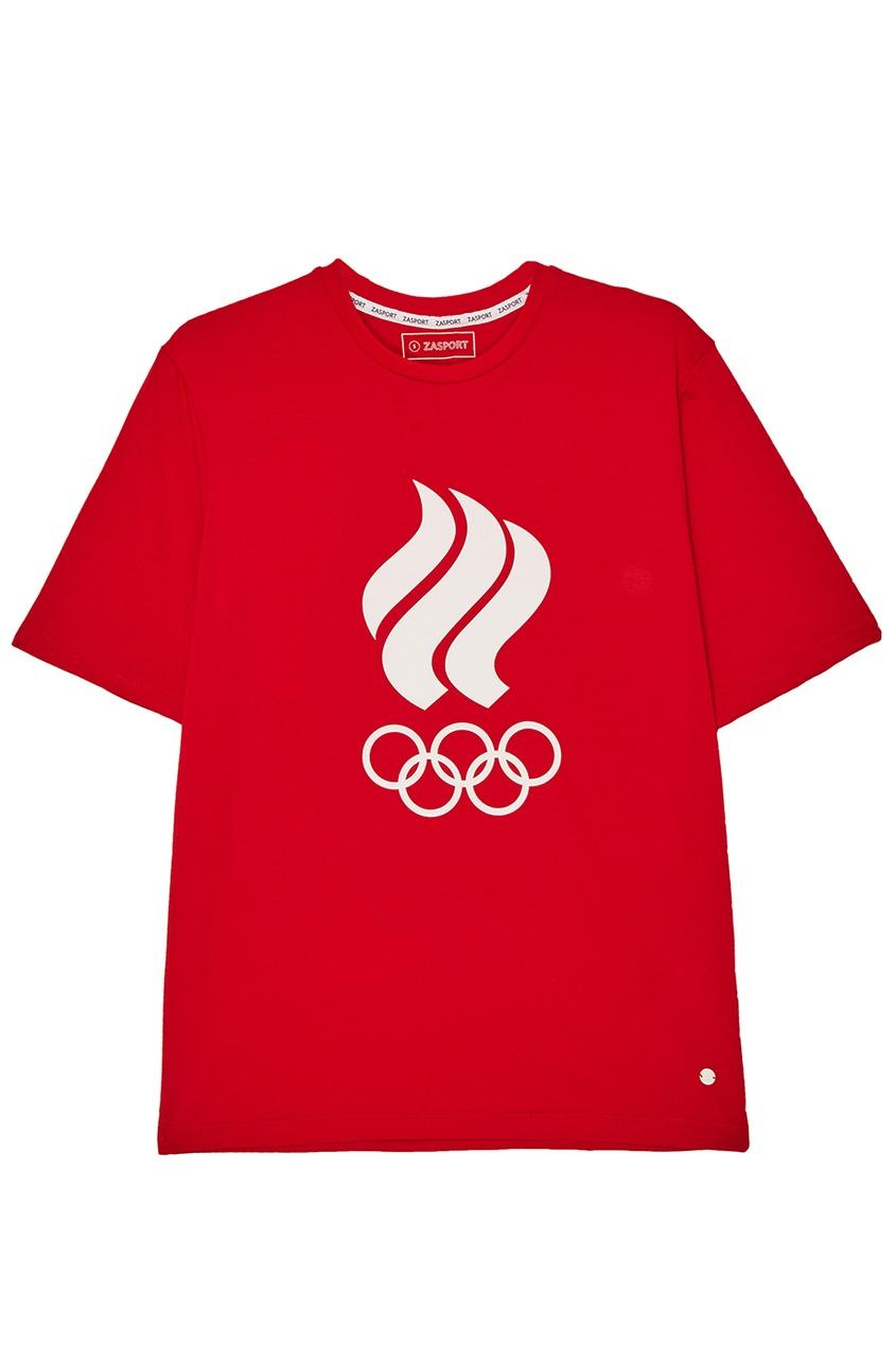 ZASPORT Красная футболка с олимпийской символикой предметы с олимпийской символикой