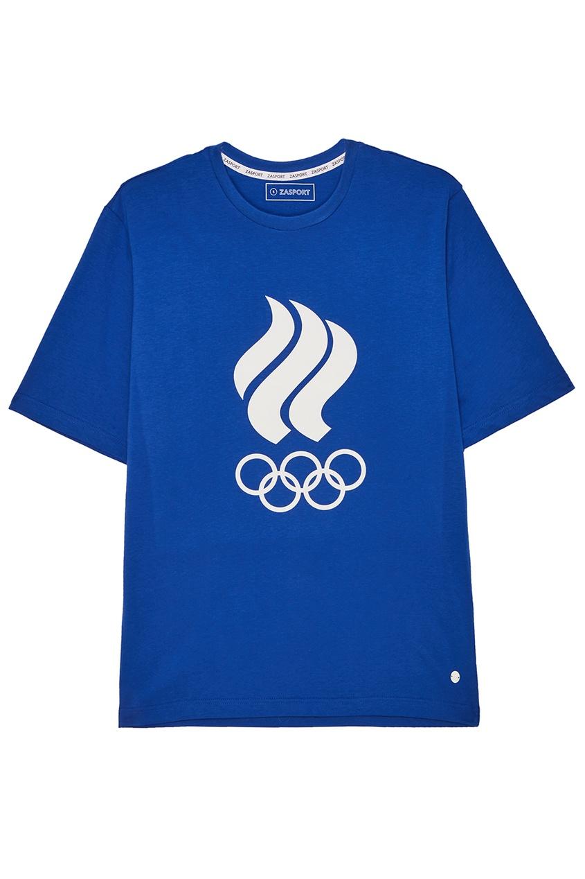 ZASPORT Синяя футболка с олимпийской символикой предметы с олимпийской символикой