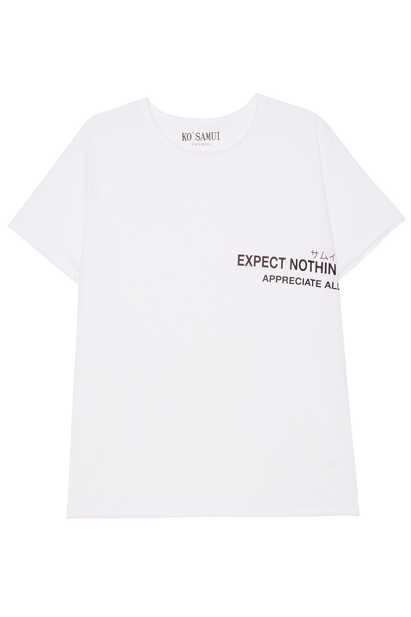 KO SAMUI Белая футболка с надписью Expect футболка белая с принтом ido ут 00004169