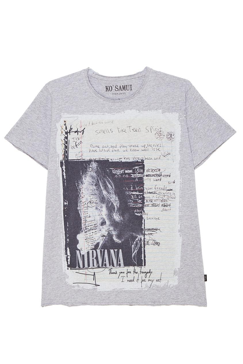 KO SAMUI Серая футболка с фотопринтом Smell ko samui белая футболка с фотопринтом shore