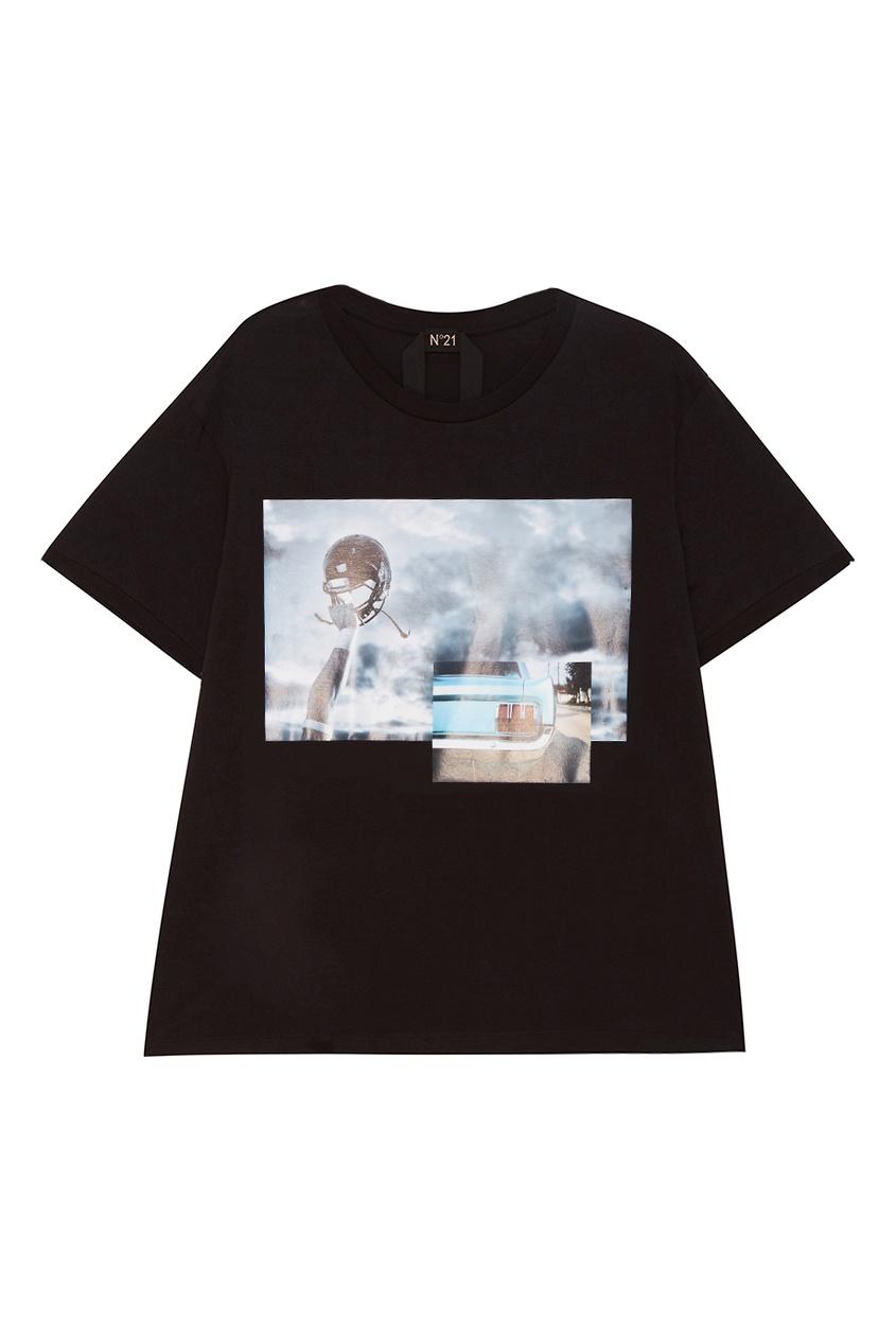 No.21 Черная футболка с принтом no 21 хлопковая рубашка с перьями