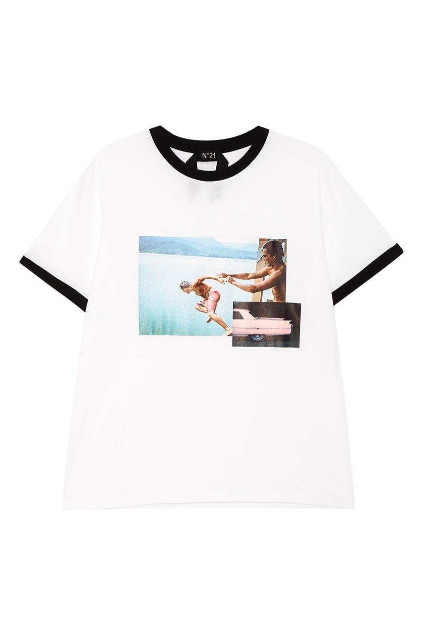 No.21 Белая хлопковая футболка с принтом no 21 хлопковая рубашка с перьями