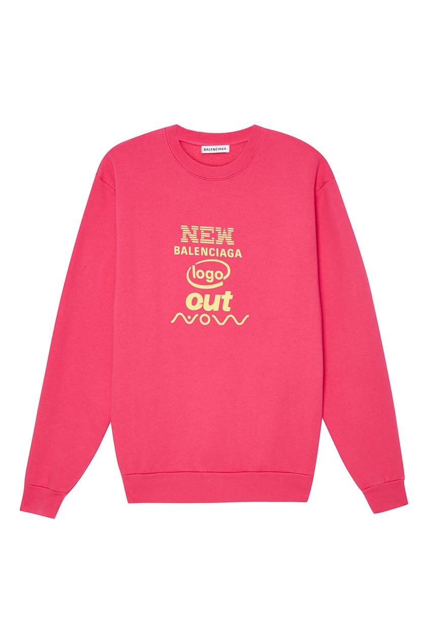 Balenciaga Розовый хлопковый свитшот с надписью
