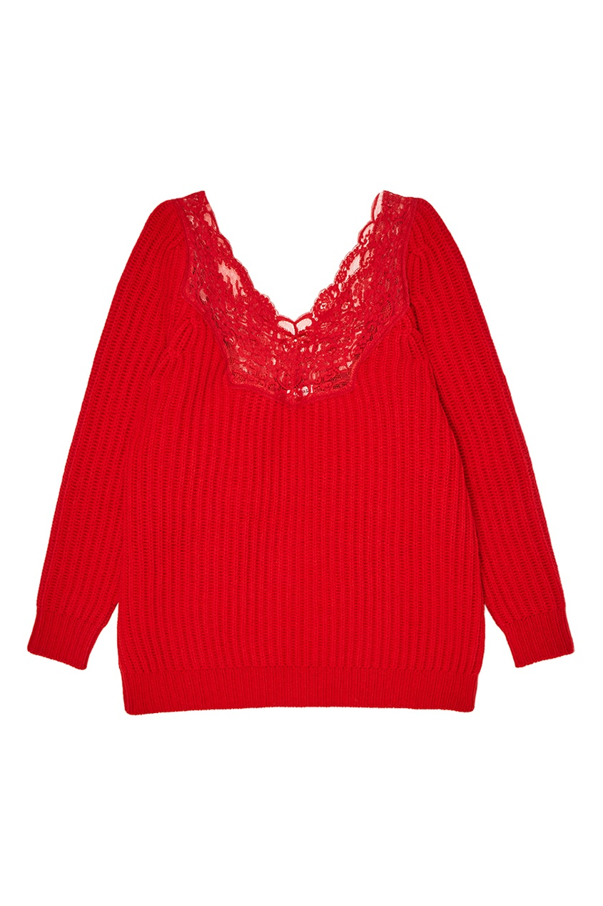 Balenciaga Красный шерстяной джемпер с кружевом