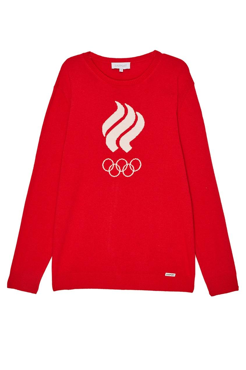 Красный джемпер с олимпийской символикой