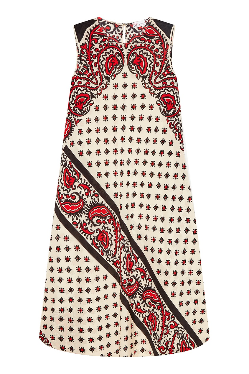 Red Valentino Шелковое платье с контрастным принтом