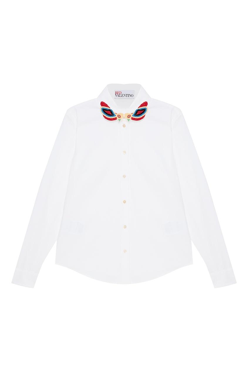 Red Valentino Белая рубашка с бисерной вышивкой осенние новый пиджак обрезанное корейской версии новый осенний износ тонкая белая рубашка леди рукава белая рубашка