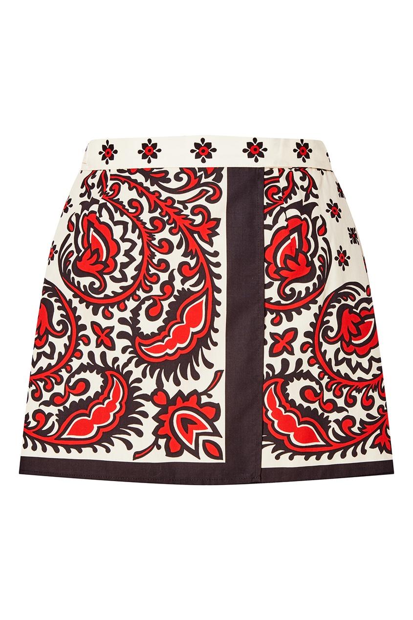 Хлопковая юбка с запахом