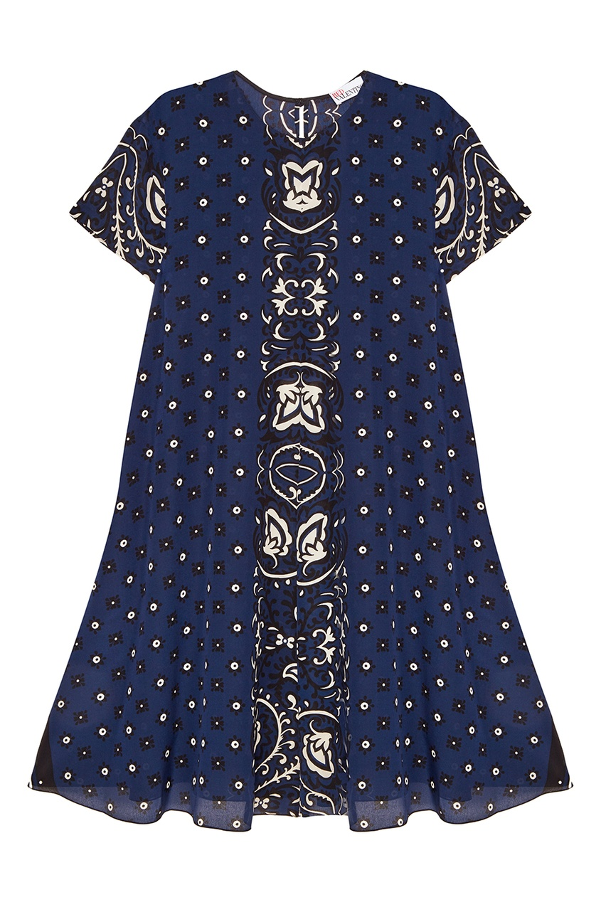 Red Valentino Синее платье из шелка с принтом