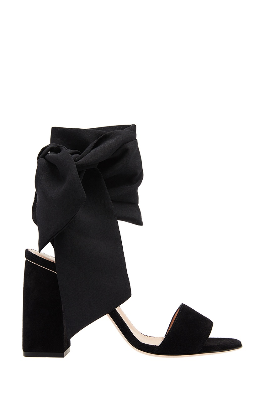 Черные замшевые босоножки с лентами Dottyred