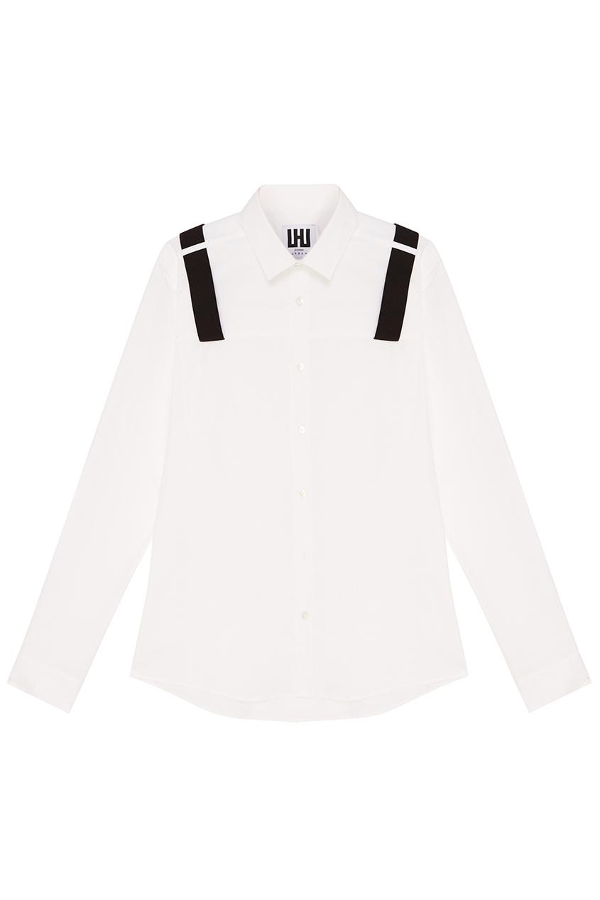 LES HOMMES URBAN Белая рубашка с черными лентами осенние новый пиджак обрезанное корейской версии новый осенний износ тонкая белая рубашка леди рукава белая рубашка