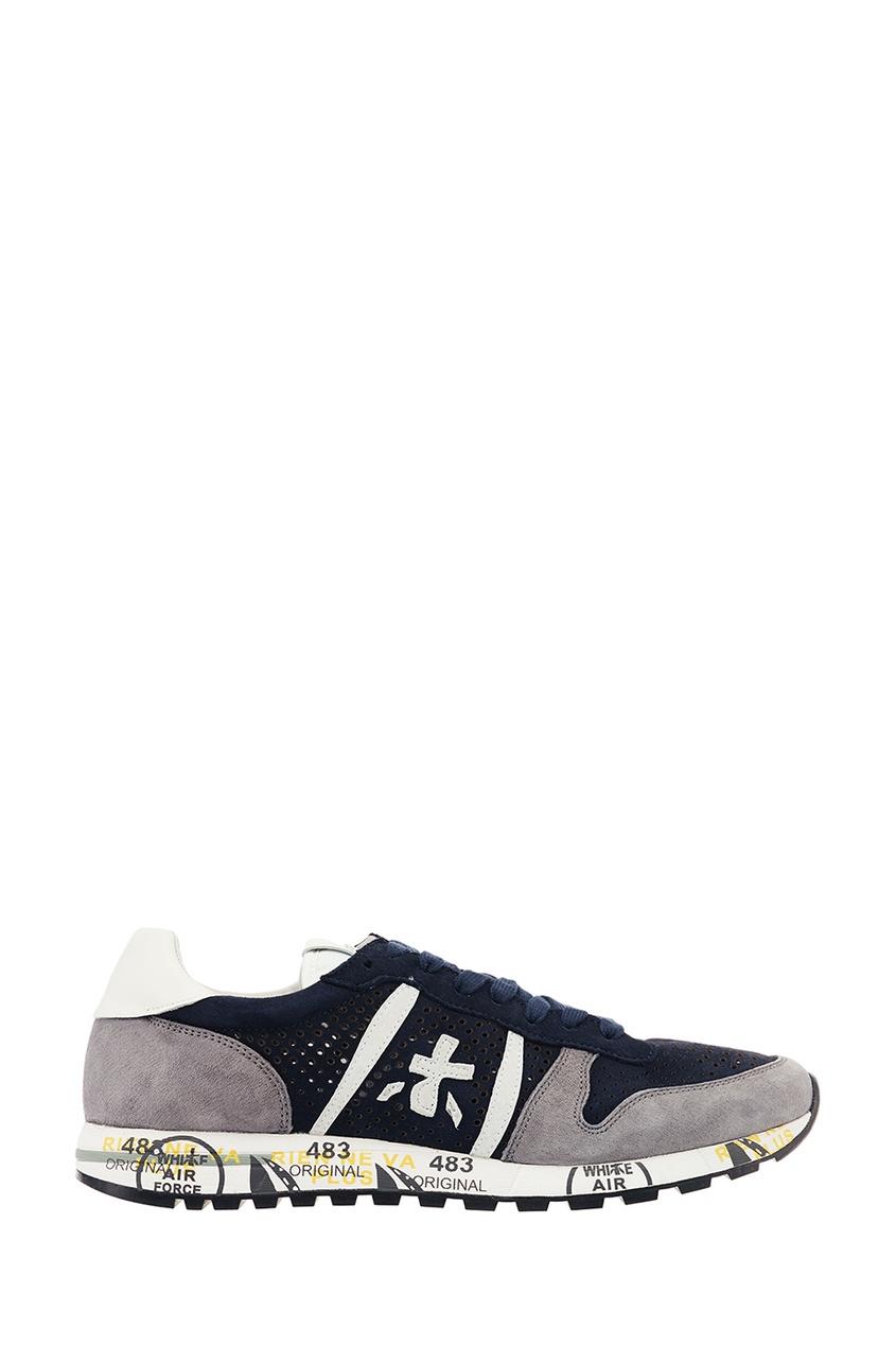 Premiata Синие кроссовки из перфорированной замши