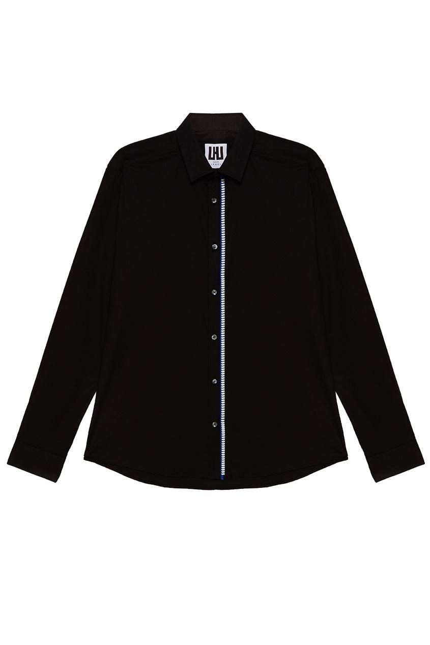 LES HOMMES URBAN Черная рубашка с контрастной отделкой prada хлопковая рубашка