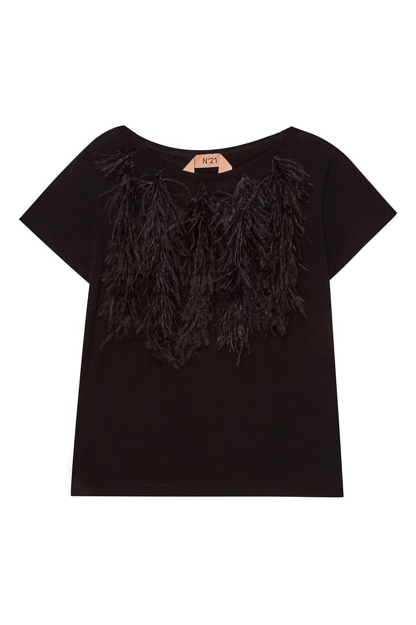 No.21 Черная футболка с перьями no 21 хлопковая рубашка с перьями