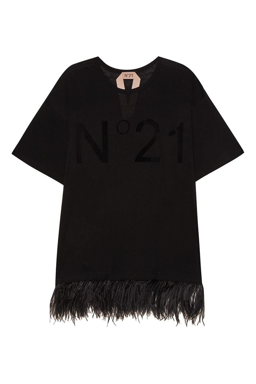 No.21 Удлиненная футболка с перьями no 21 хлопковая рубашка с перьями