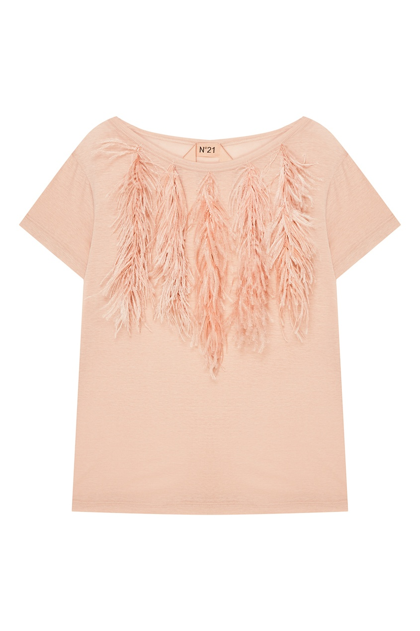 No.21 Розовая футболка с перьями no 21 хлопковая рубашка с перьями