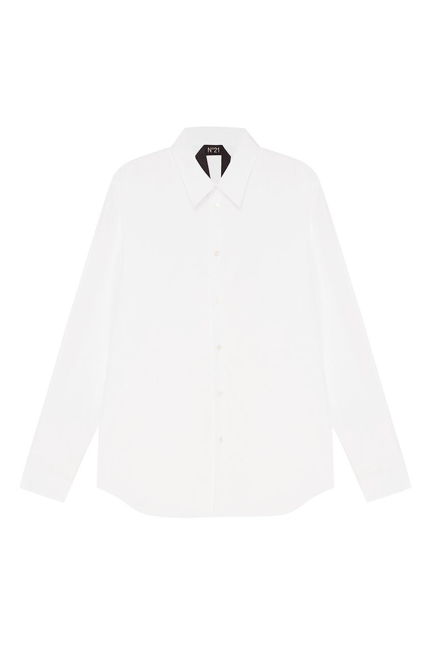 No.21 Белая рубашка из хлопка с логотипом no 21 голубые брюки из хлопка