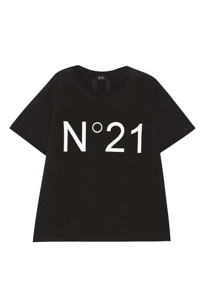 No.21 Черная футболка с крупным лого no 21 хлопковая рубашка с перьями