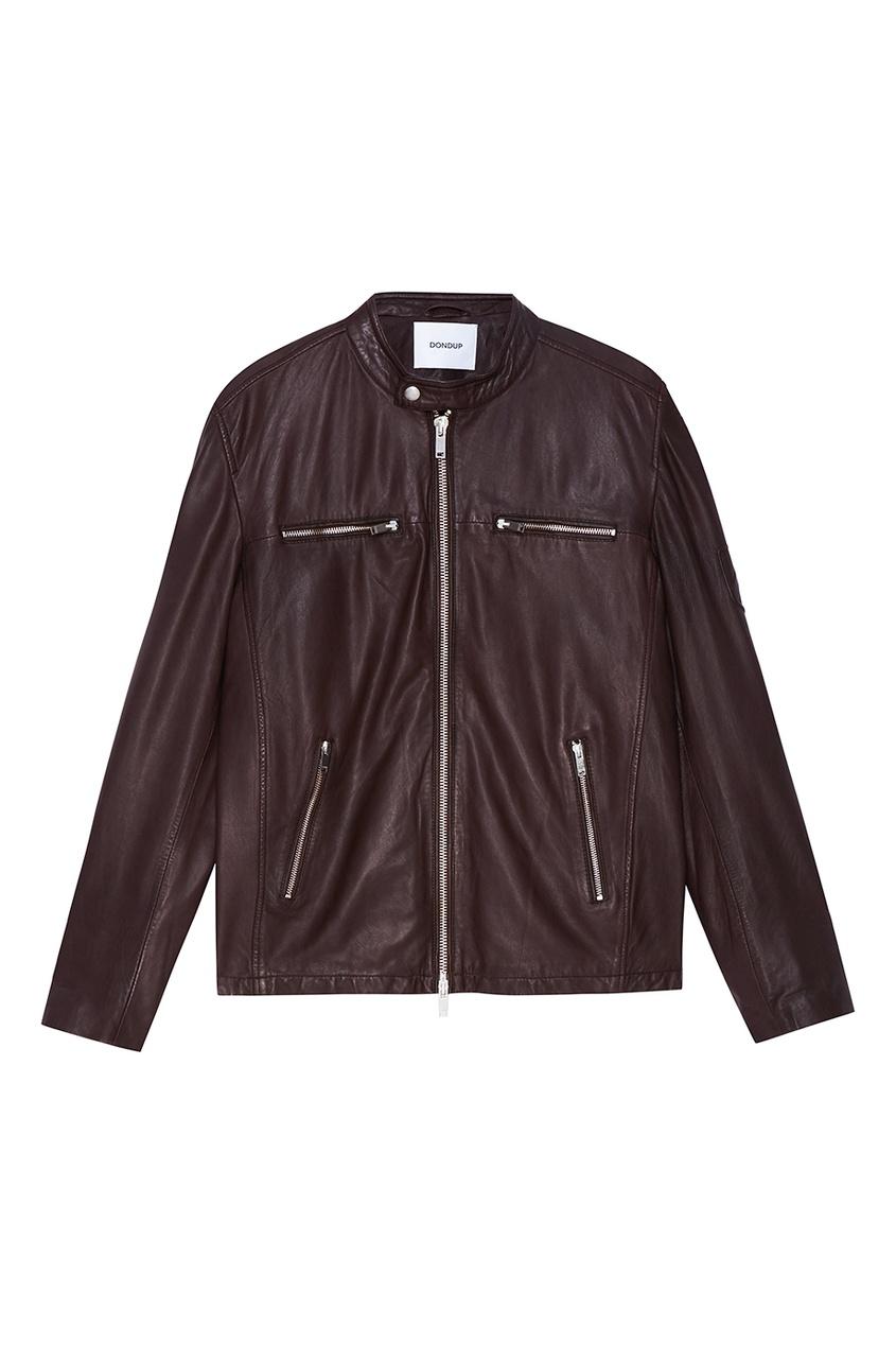цена на Dondup Коричневая куртка из натуральной кожи