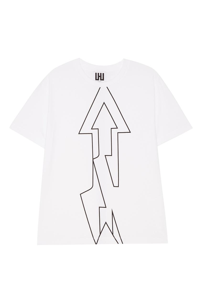 LES HOMMES URBAN Белая футболка с контурным принтом футболка белая с ярким принтом catimini ут 00011630