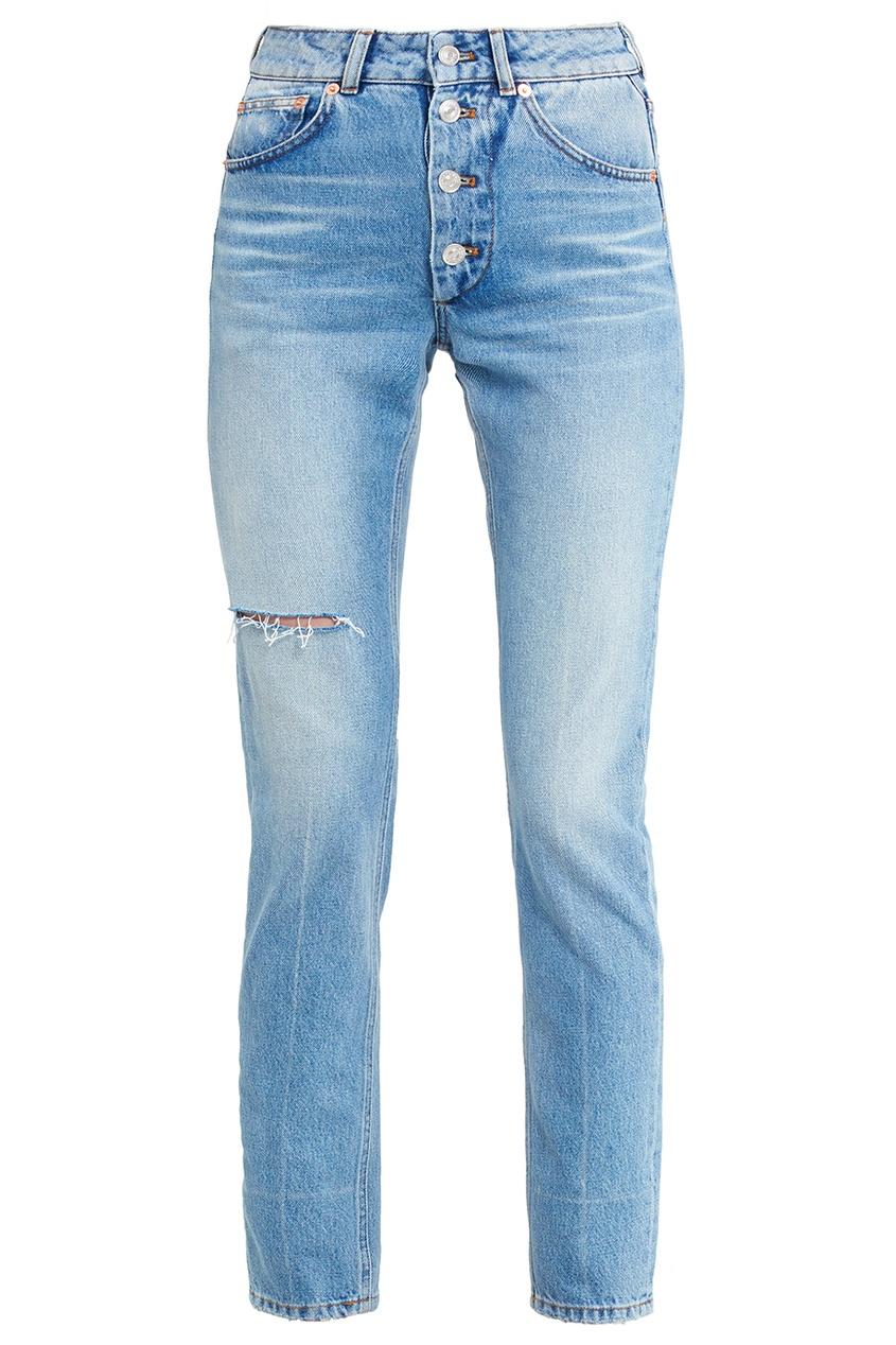 Balenciaga Голубые выбеленные джинсы с прорезью