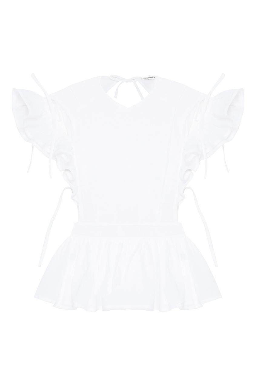 Cecilie Bahnsen Белая хлопковая блузка блузка с воланами из хлопка