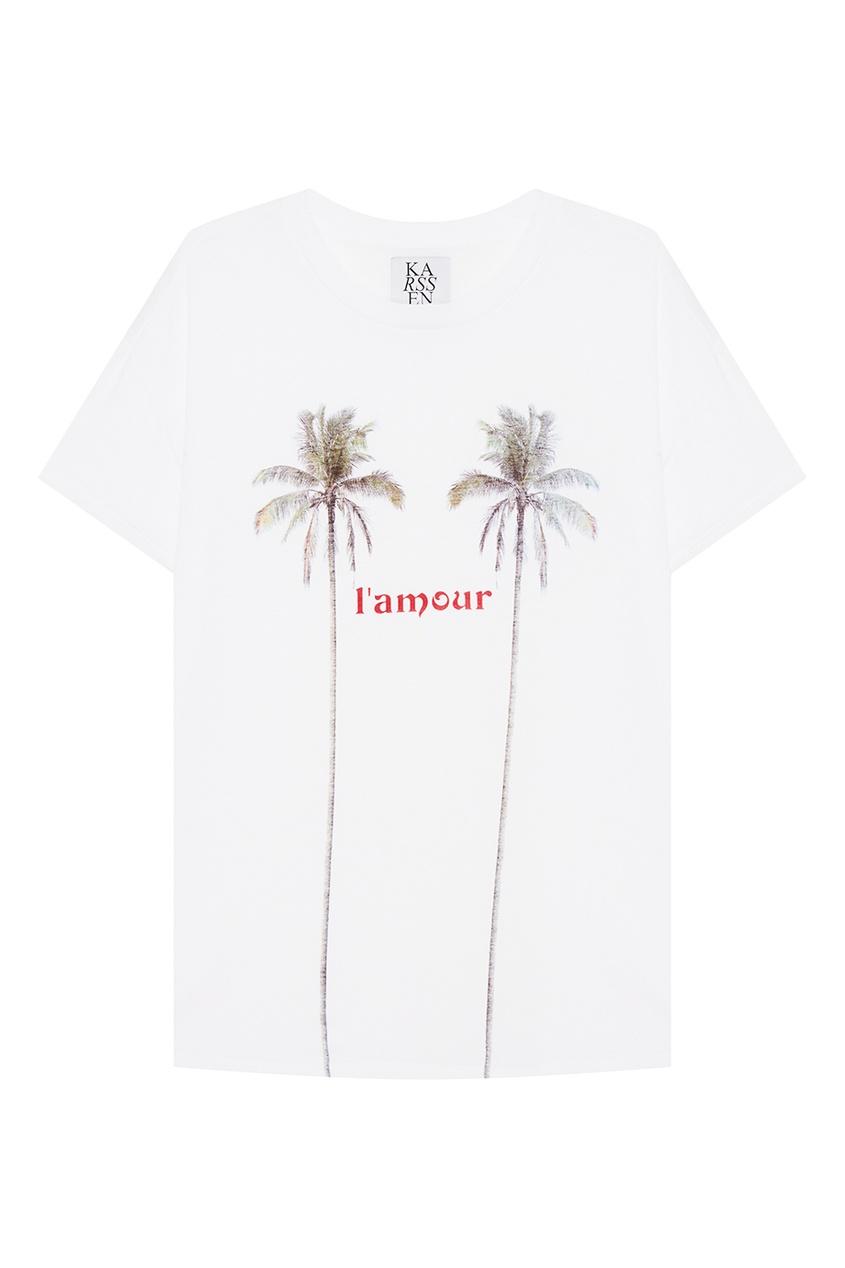 Zoe Karssen Белая футболка с пальмами