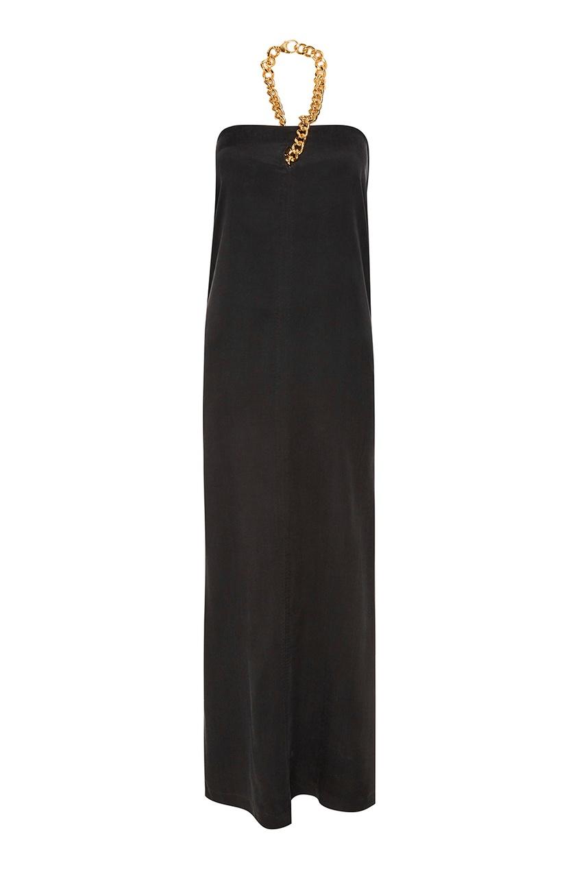 Черное платье-макси с цепочкой