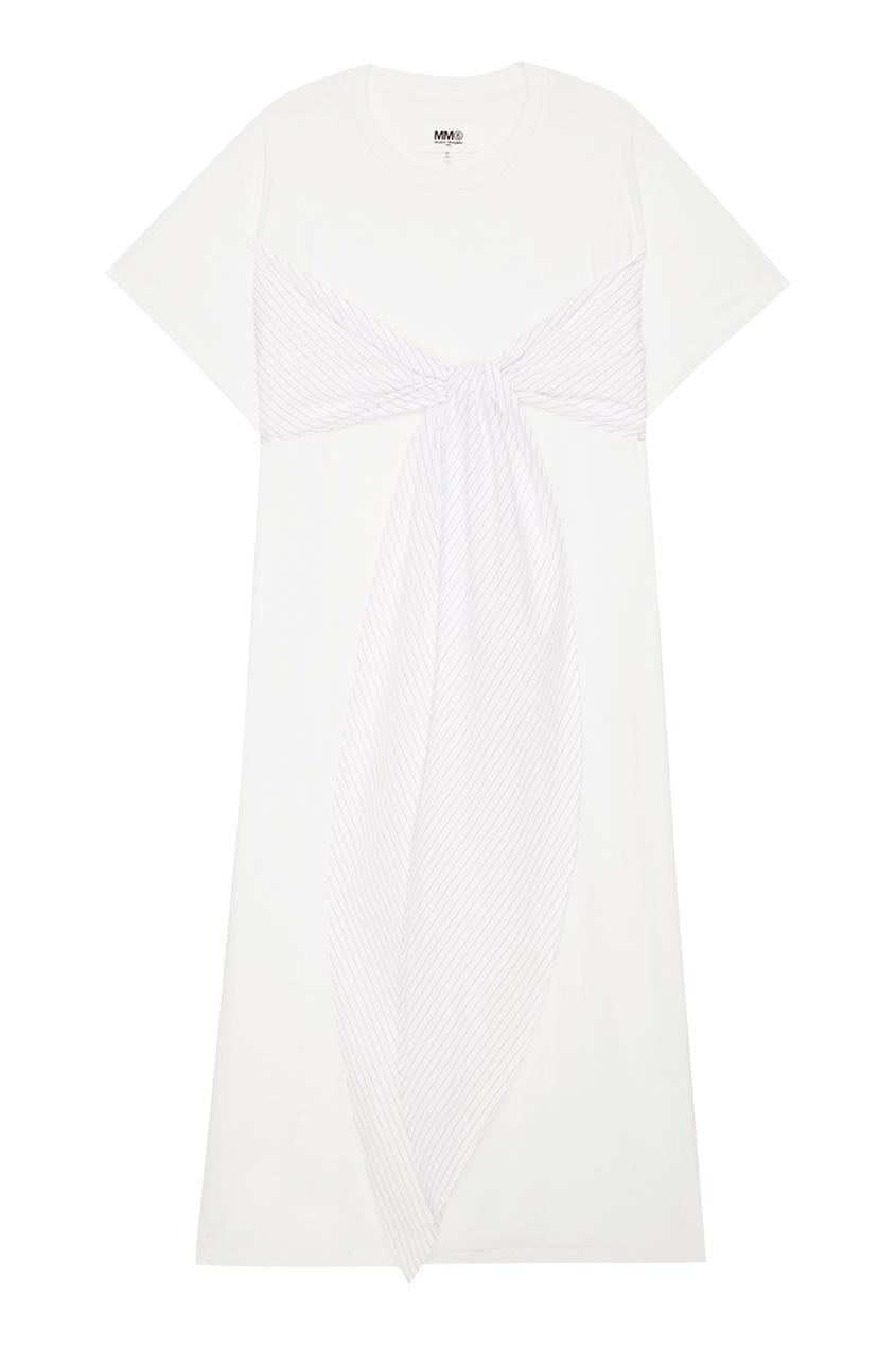 Хлопковое платье-макси с завязками