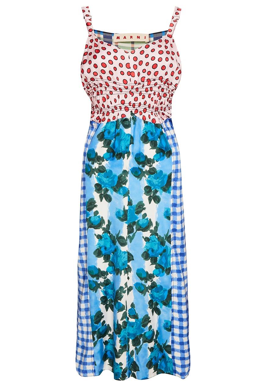 Комбинированное платье на бретелях
