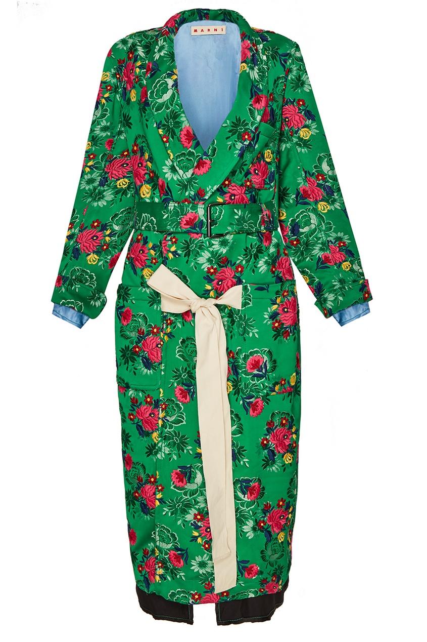 Marni Жаккардовое пальто с цветами
