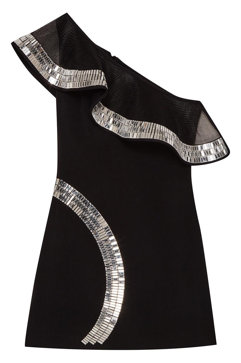 David Koma Черное платье-мини с кристаллами