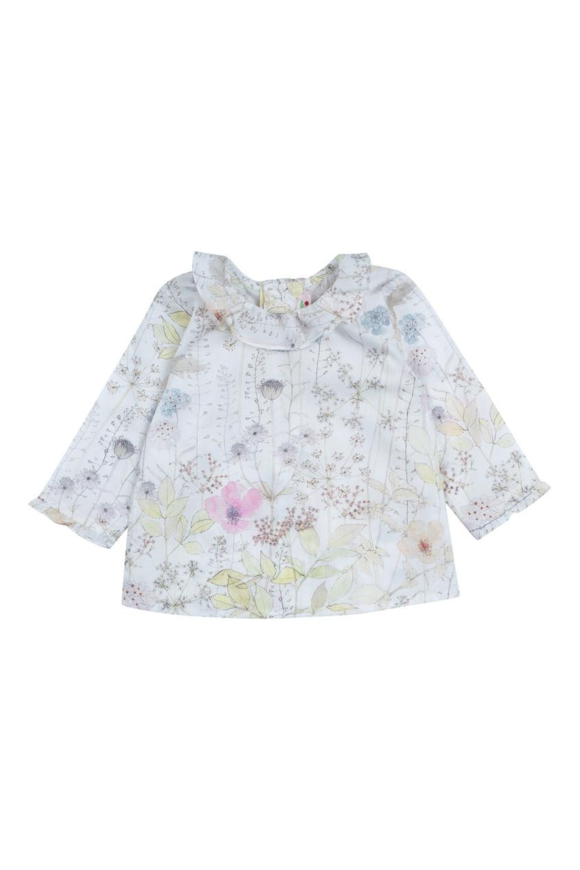 Bonpoint Хлопковая блуза GANITI с принтом bonpoint кожаный портфель с контрастными деталями