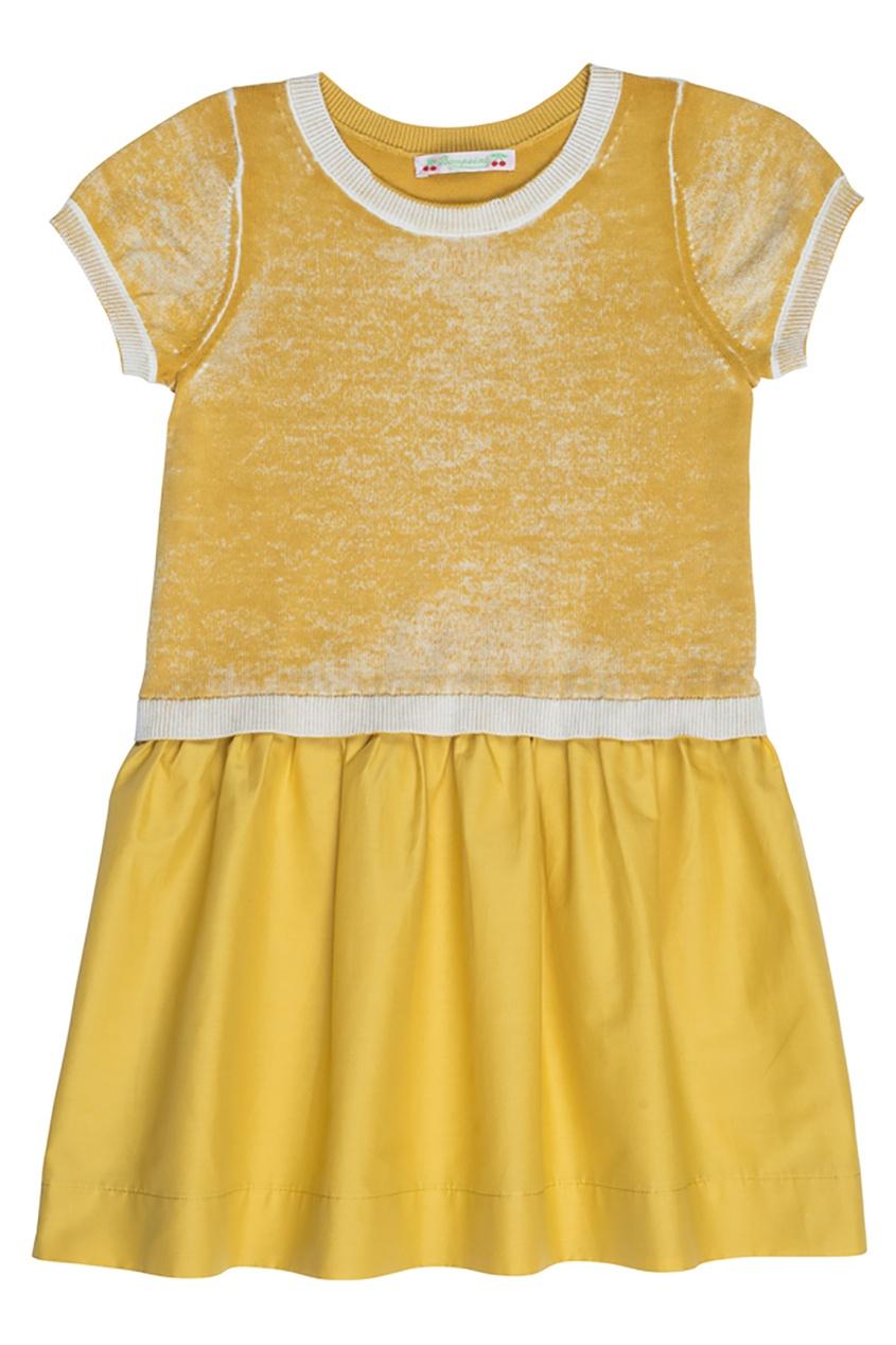 Bonpoint Хлопковое платье с золотистой отделкой bonpoint кожаный портфель с контрастными деталями
