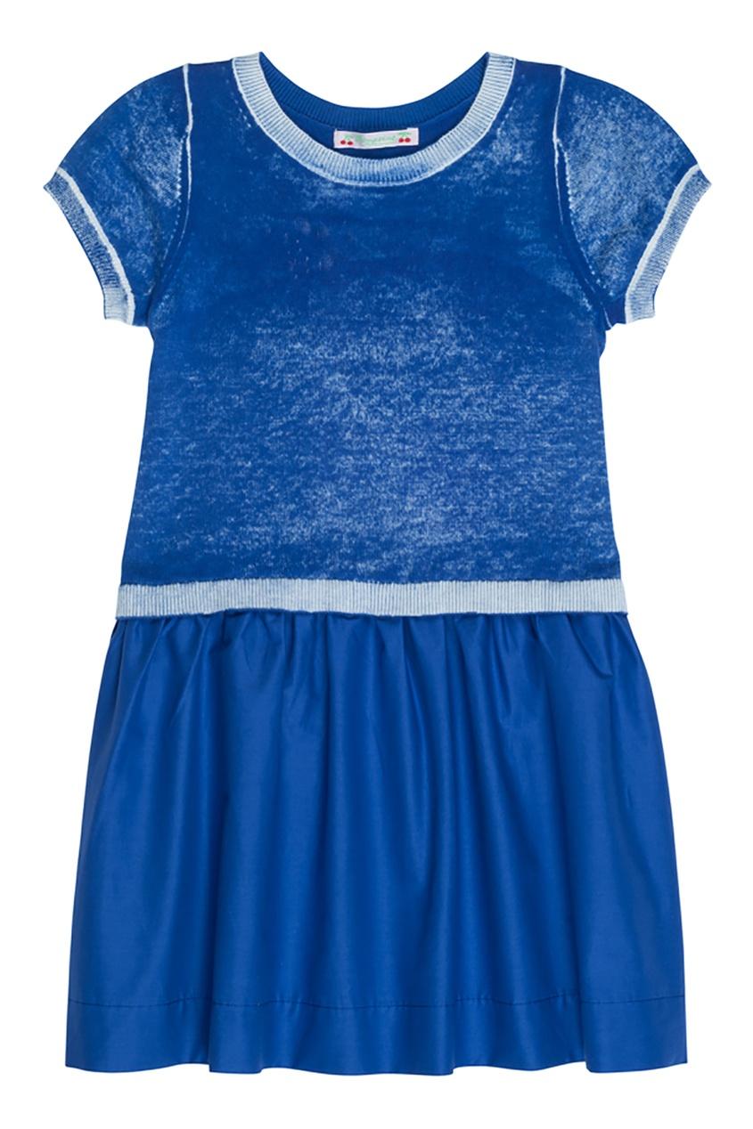 Bonpoint Синее платье с короткими рукавами bonpoint кожаный портфель с контрастными деталями