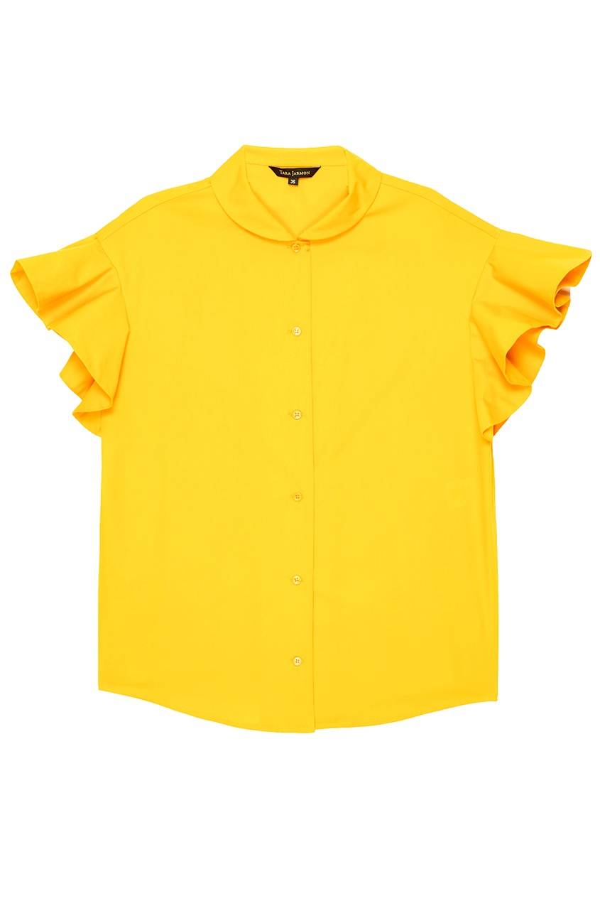 Tara Jarmon Желтая блузка из хлопка блузка с воланами из хлопка