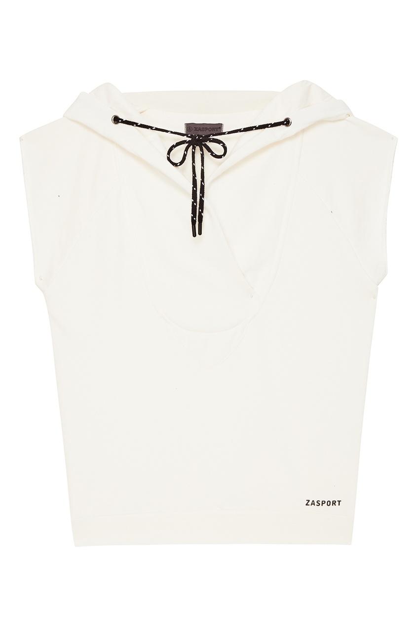 ZASPORT Белое худи oversize с короткими рукавами худи