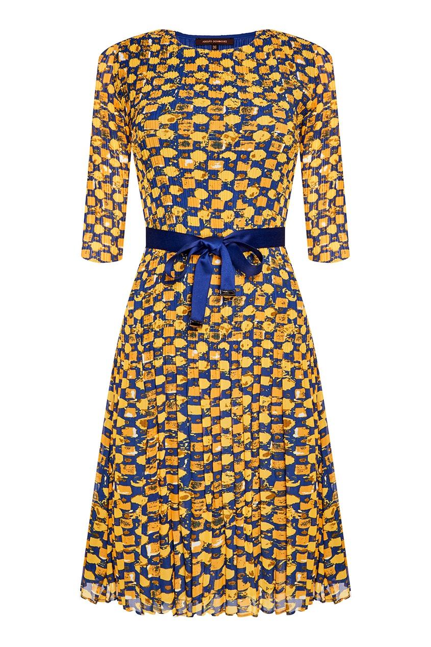 Плиссированное платье с принтом