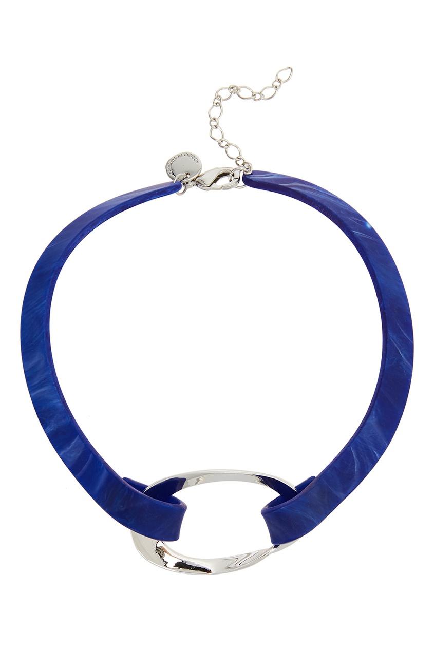 Adolfo Dominguez Синее колье-чокер двойной чокер leiiy с металлической вставкой кольцом