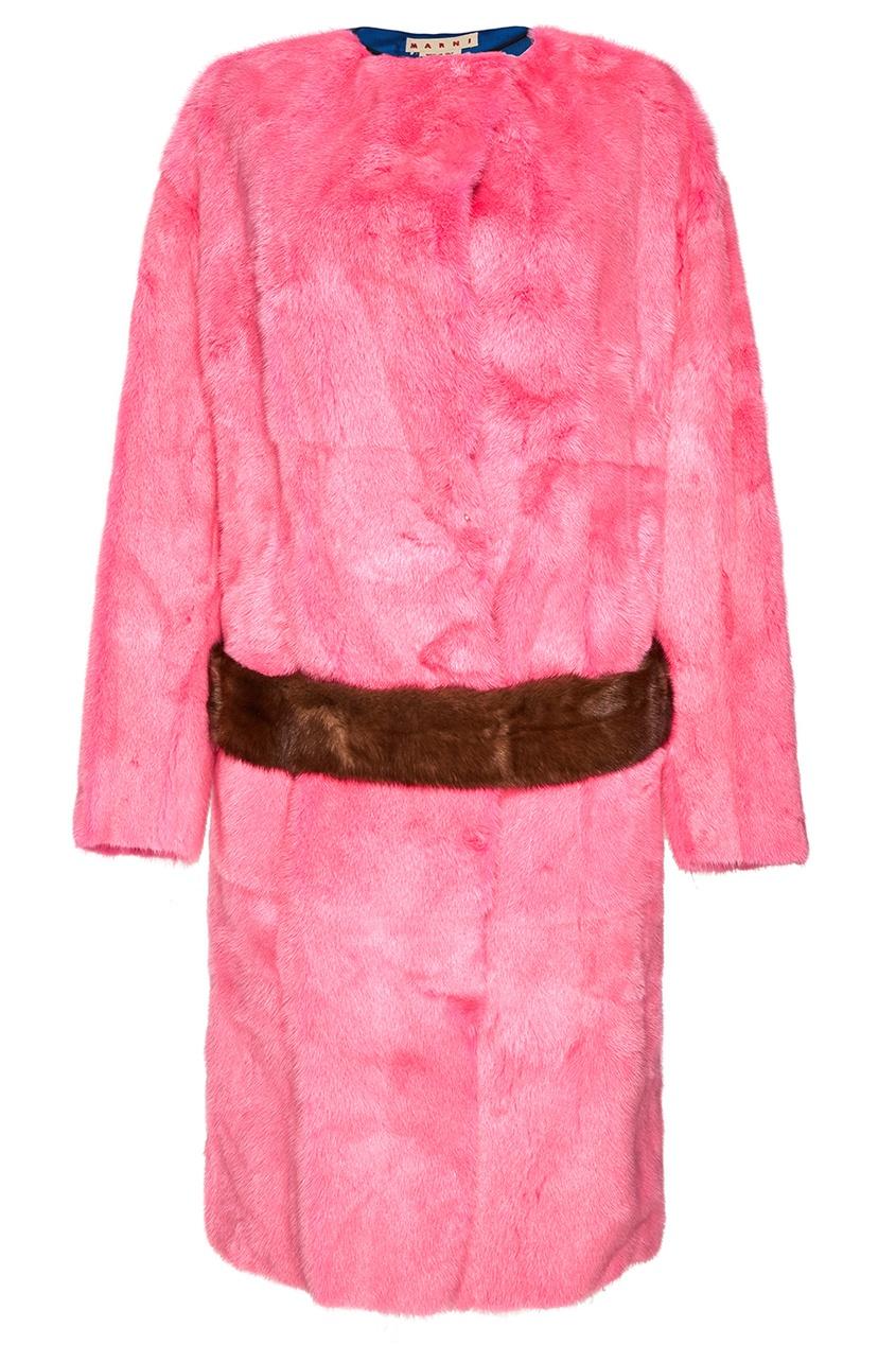 Marni Розовая шуба из меха норки