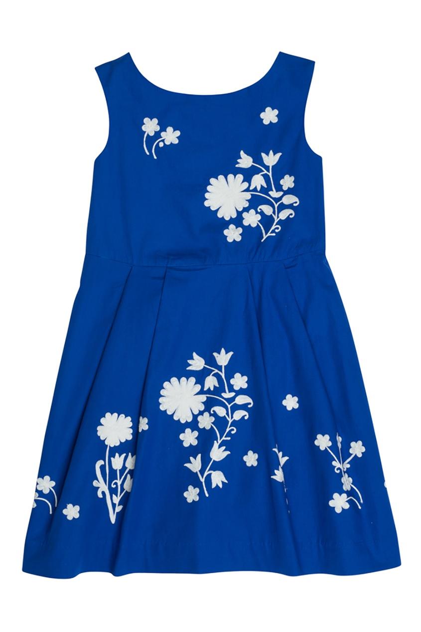 Хлопковое синее платье CELINE Bonpoint