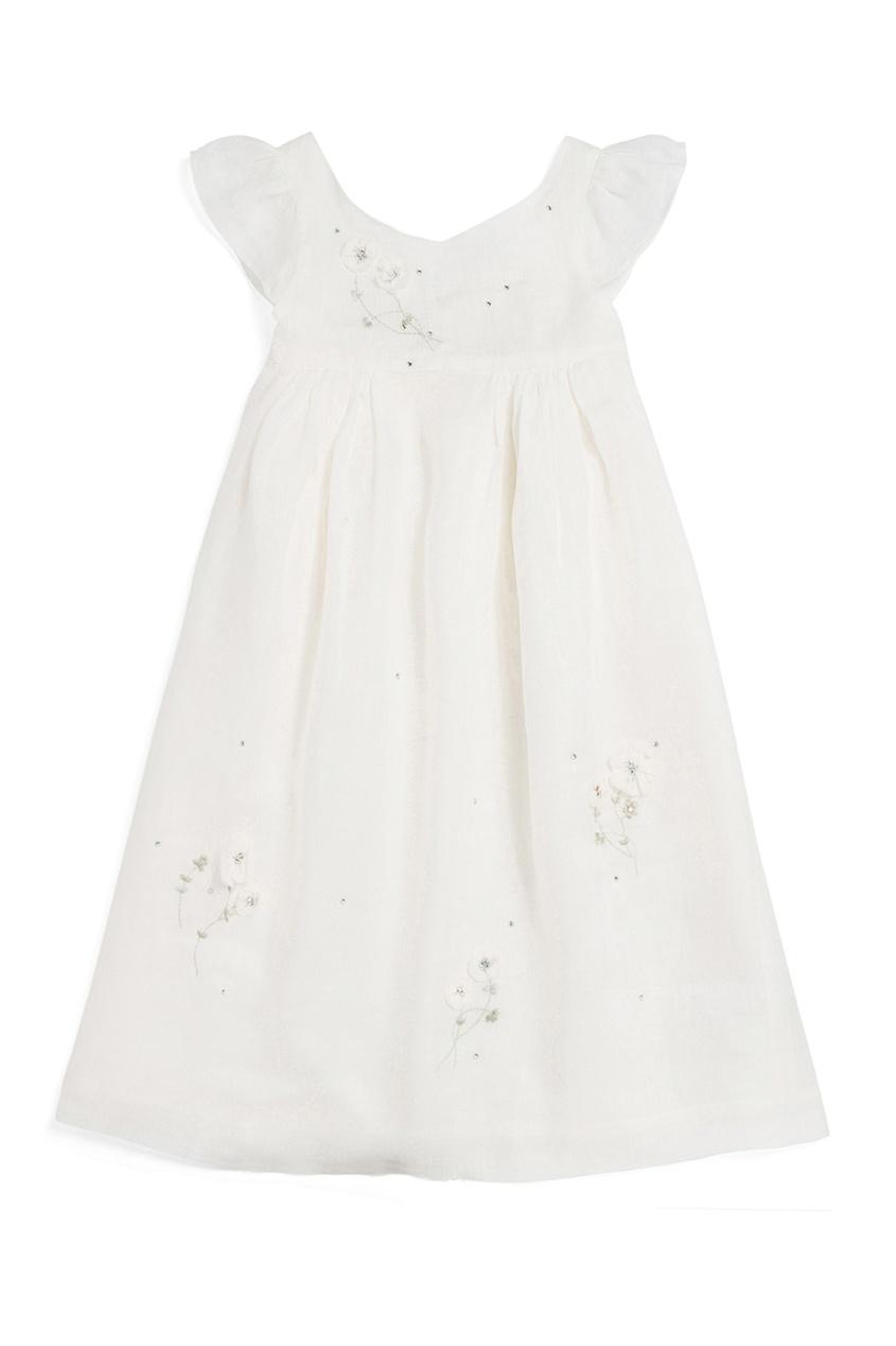 Bonpoint Белое льняное платье GALANTE