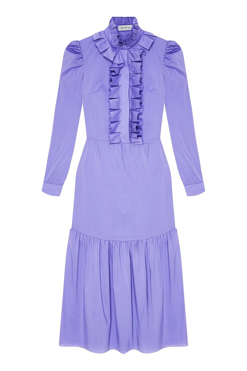 Фиолетовое платье с оборками