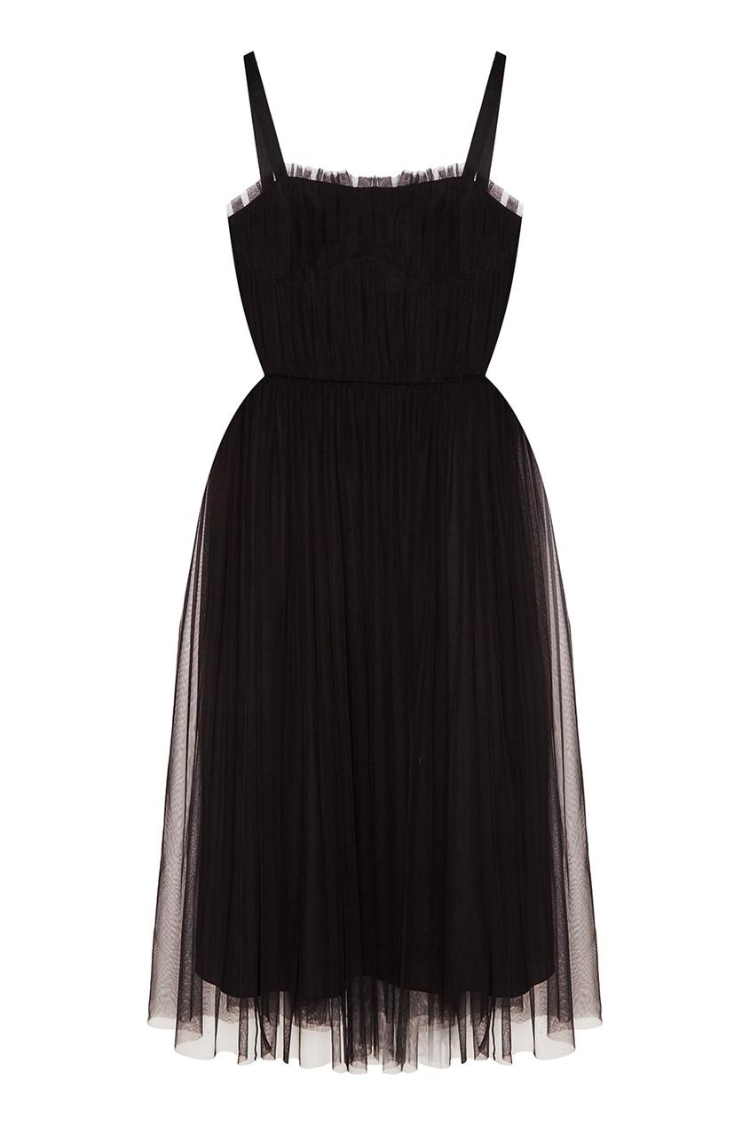 Черное платье из сетки