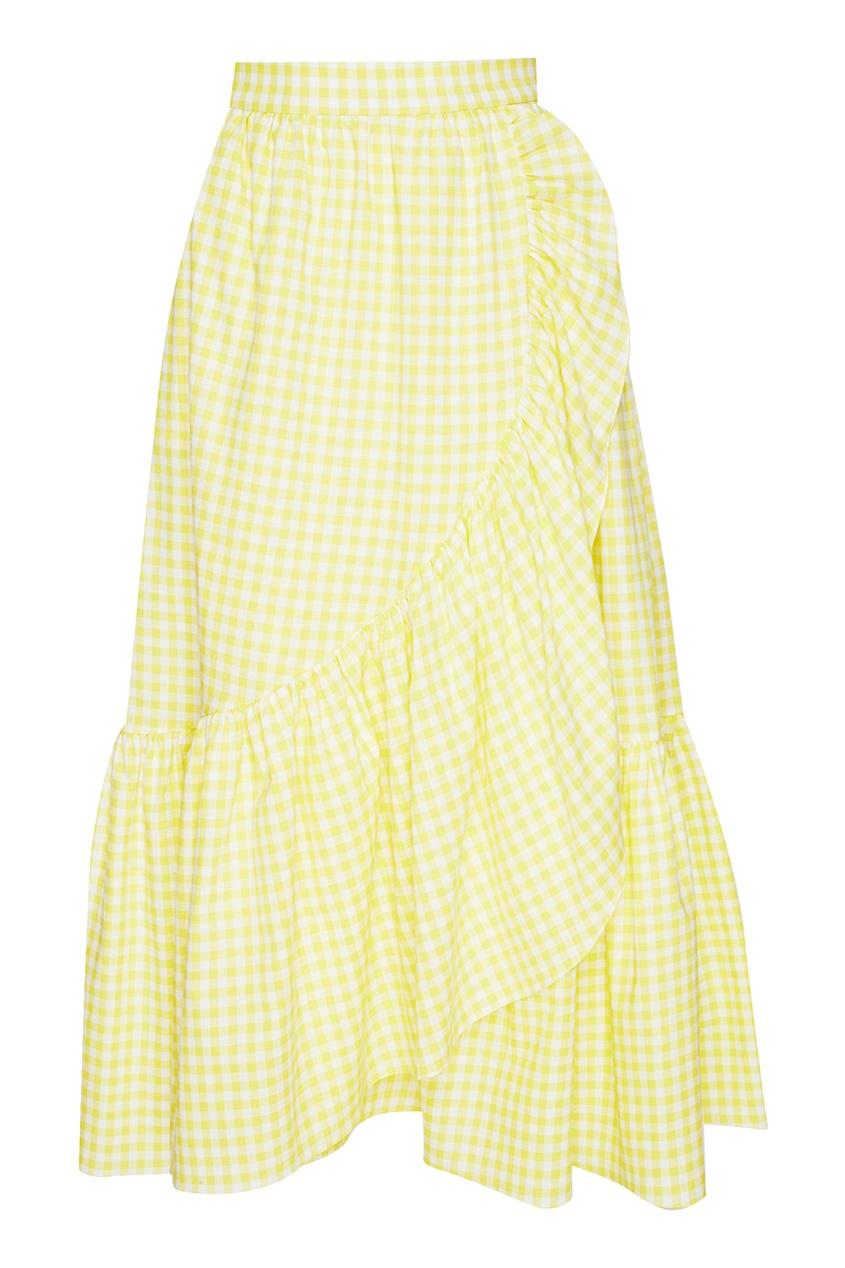 Хлопковая юбка-миди с воланом