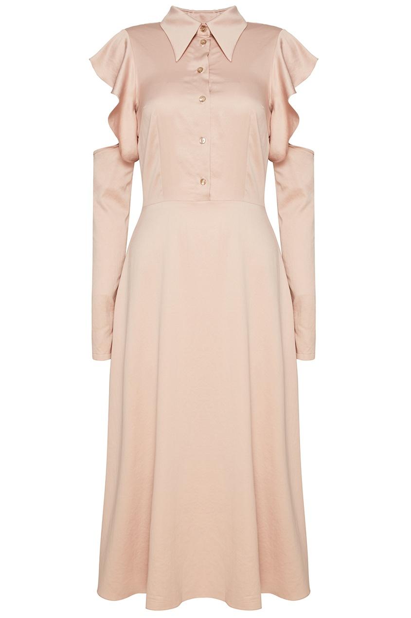 Шелковое платье пудрового цвета
